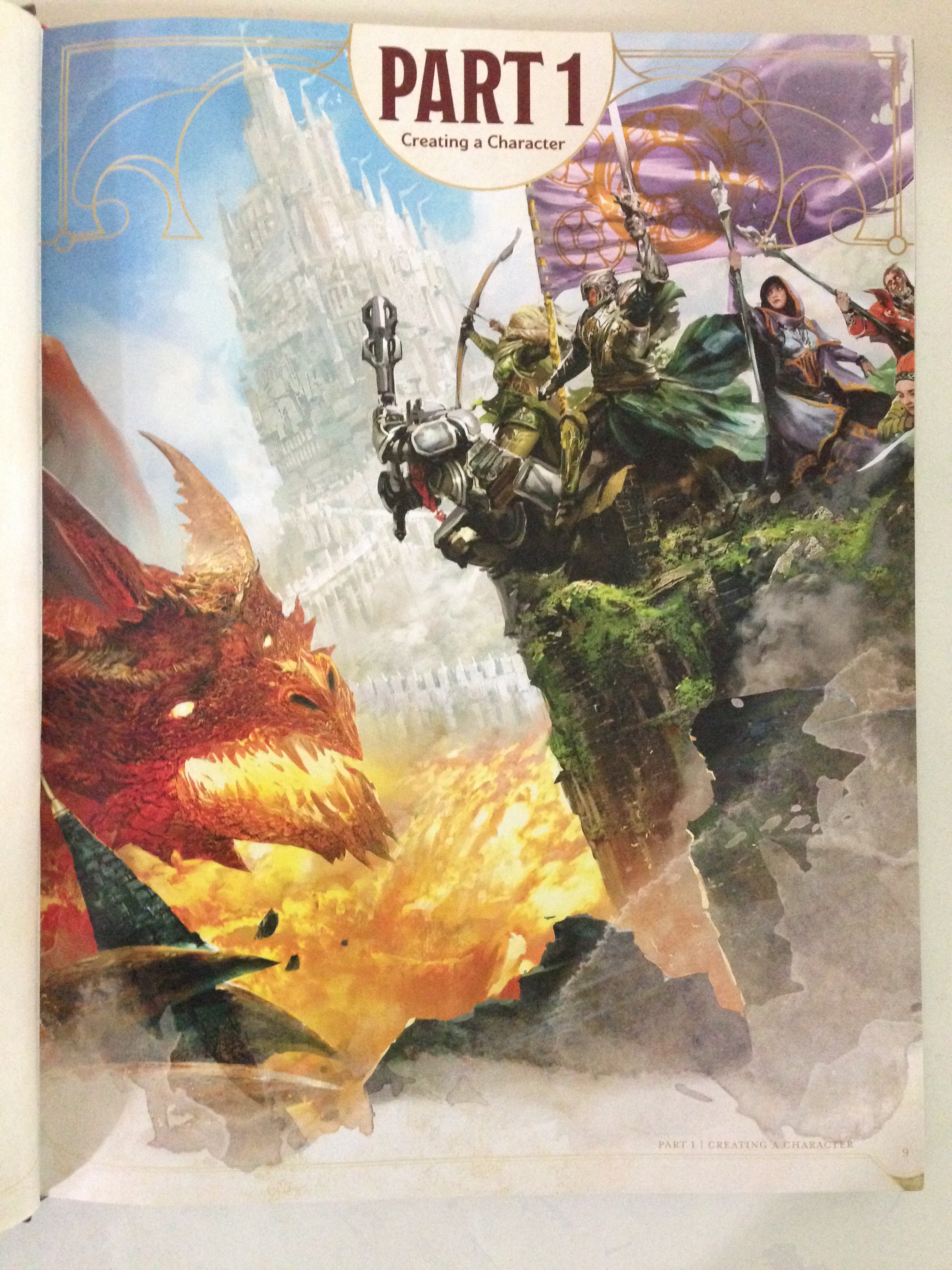 Splash page art of Player's Handbook, A Core Rulebook for Dungeons & Dragons 5th Edition