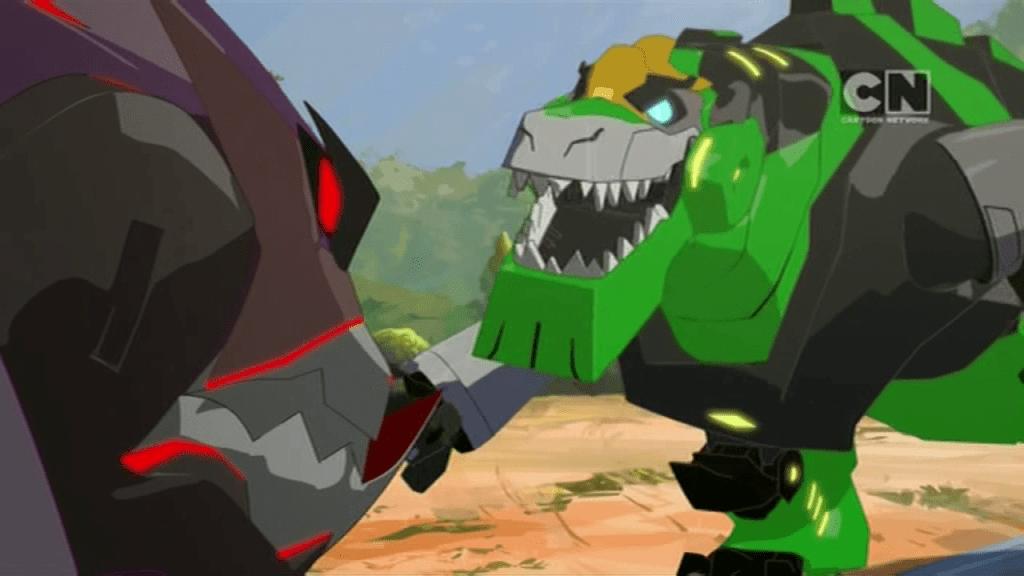 Grimlock vs Underbite. (Pilot (Part 2) - S01E02 of Transformers: Robots in Disguise)