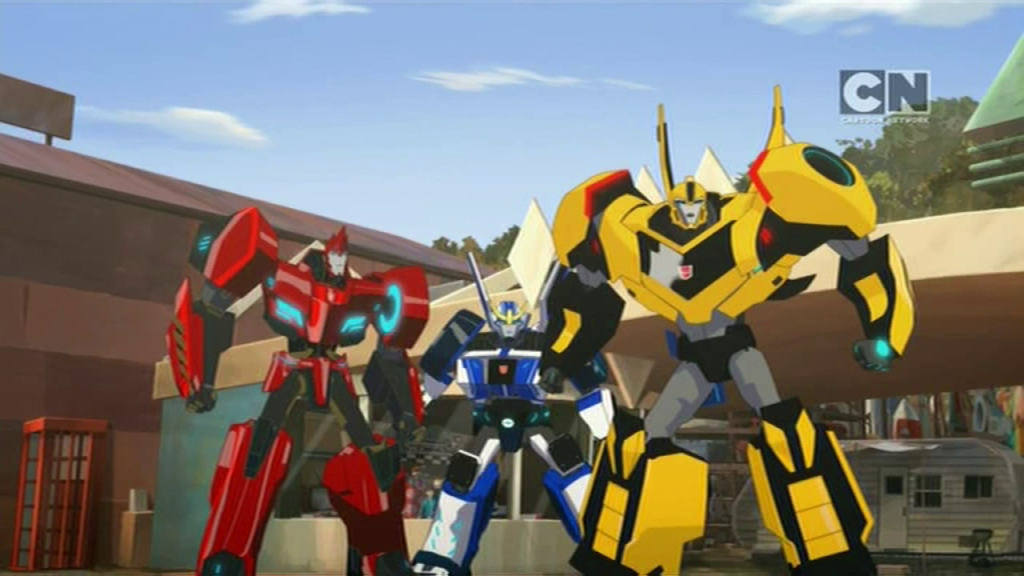 Sideswipe, Strongarm, and Bumblebee. (Pilot (Part 2) - S01E02 of Transformers: Robots in Disguise)