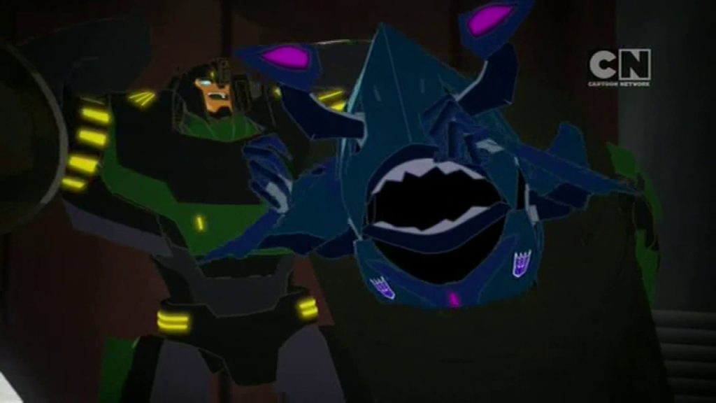 "Grimlock makes short work of Hammerstrike. (""Trust Exercises"" - S01E03 of Transformers: Robots in Disguise)"