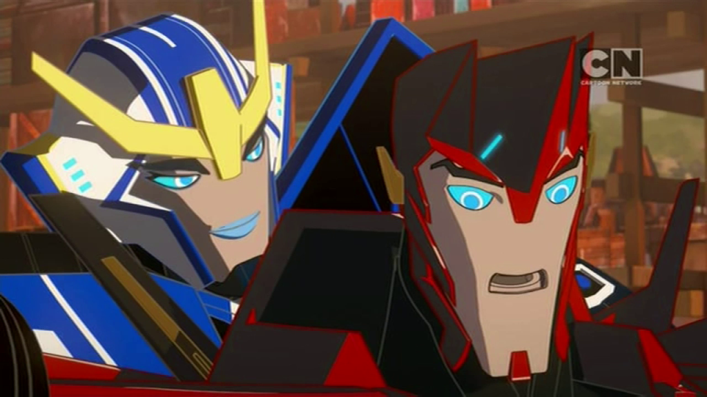 "Sideswipe learns to trust Strongarm. (""Trust Exercises"" - S01E03 of Transformers: Robots in Disguise)"