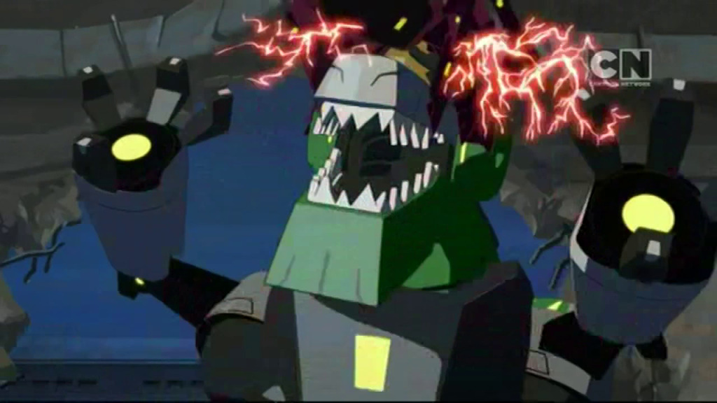 "Chop Shop attacks Grimlock. (""More than Meets the Eye"" S01E04 of Transformers: Robots in Disguise)"