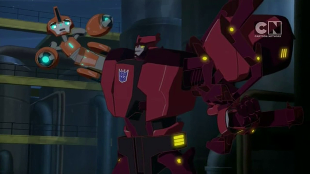 "Fixit is Chop Shop's new arm. (""More than Meets the Eye"" S01E04 of Transformers: Robots in Disguise)"