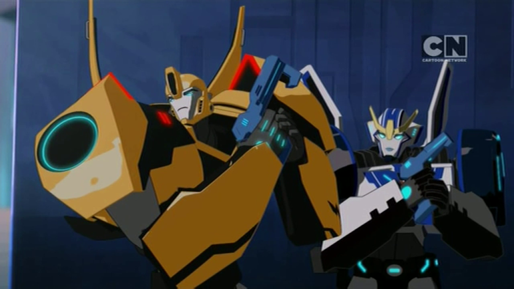 "Bumblebee and Strongarm. (""Pilot (Part 1)"" - S01E01 of Transformers: Robots in Disguise)"