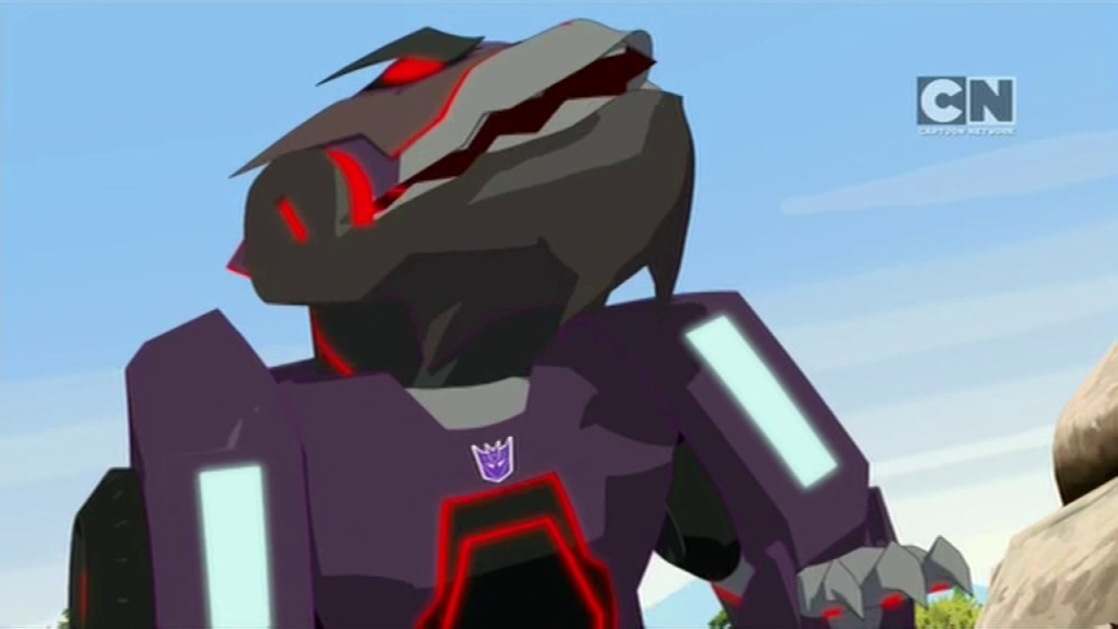 "Underbite, eater of cities. (""Pilot (Part 1)"" - S01E01 of Transformers: Robots in Disguise)"