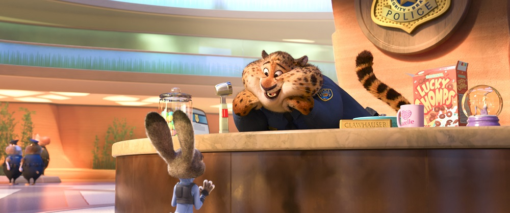 "Judy Hopps and Clawhauser (Nate Torrence) in ""Zootopia."" ©2016 Disney. All Rights Reserved."