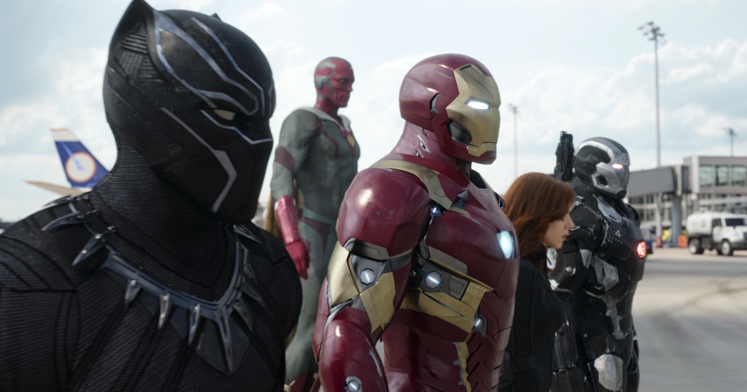 "Iron Man (Robert Downey, Jr) leads Black Panther (Chadwick Boseman), Vision (Paul Bettany), War Machine (Don Cheadle), and Black Widow (Scarlett Johnasson) in ""Captain America: Civil War."" (Walt Disney Pictures)"