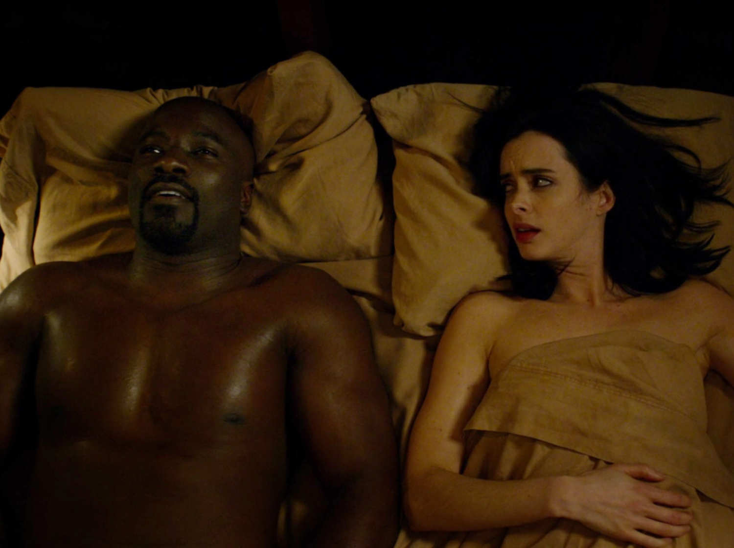 "Jessica Jones and Luke Cage (Mike Colter) after some fun in ""Jessica Jones."" (Vulture)"