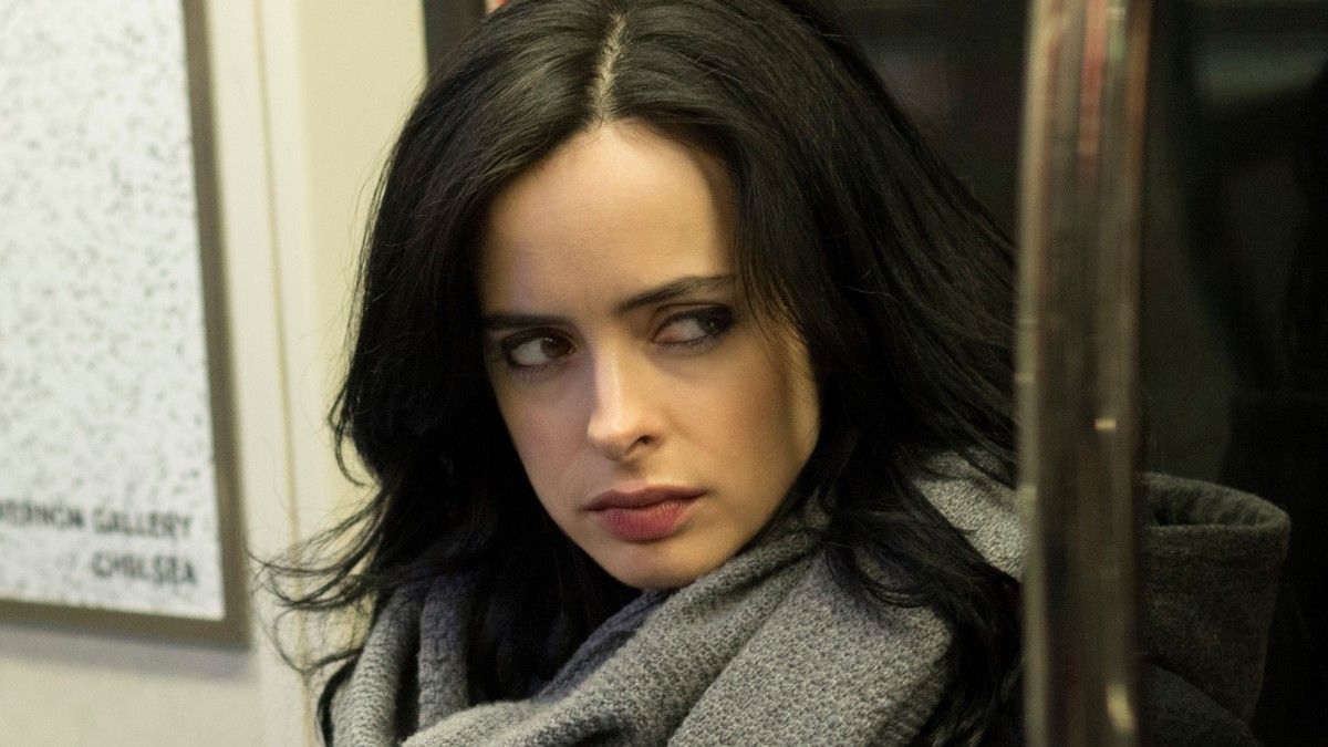 "Jessica Jones is wary on a subway in ""Jessica Jones."" (Forbes)"