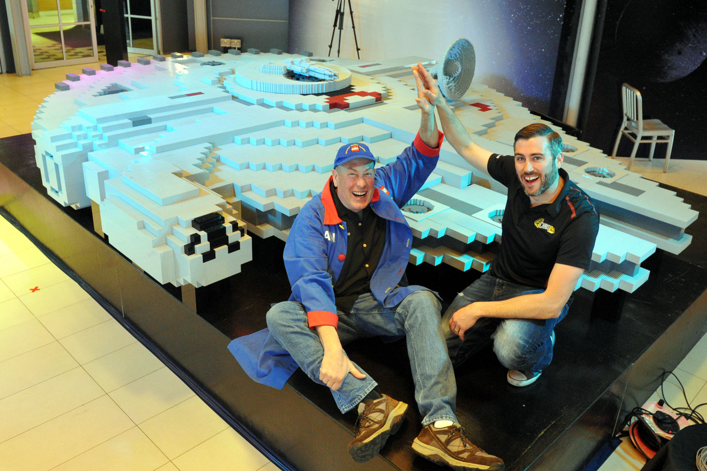 Dan and Chris Steininger elated at the completion of the LEGO replica of the Millennium Falcon. (Legoland Malaysia)
