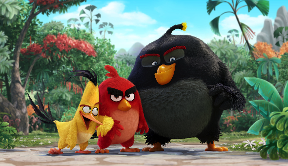 """Chuck (Josh Gad), Red, and Bomb (Danny McBride) in """"The Angry Birds Movie."""" (Sony Pictures)"""