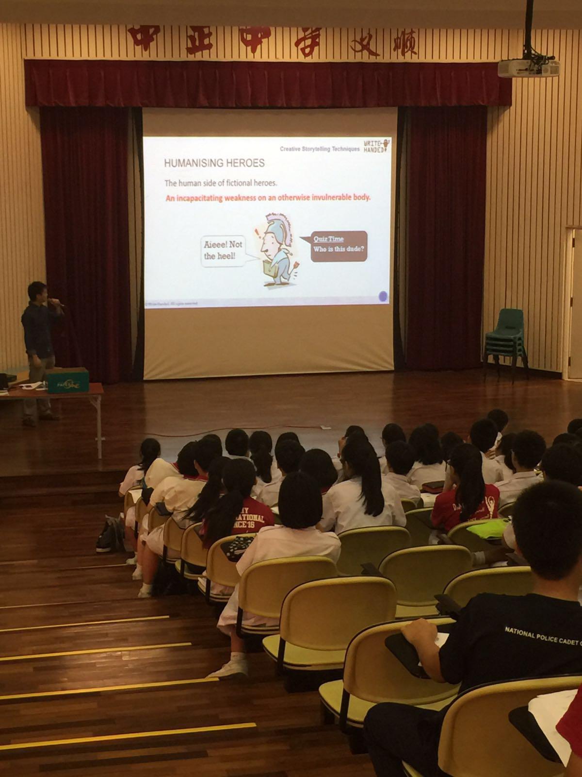Learning about creative writing. (Chung Cheng High (Yishun))