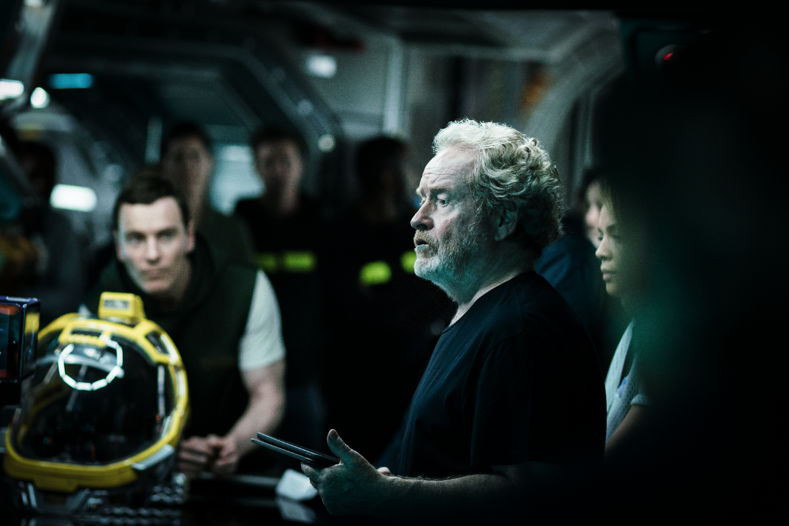 "Michael Fassbender and Ridley Scott on the set of ""Alien: Covenant"". (Twentieth Century Fox)"