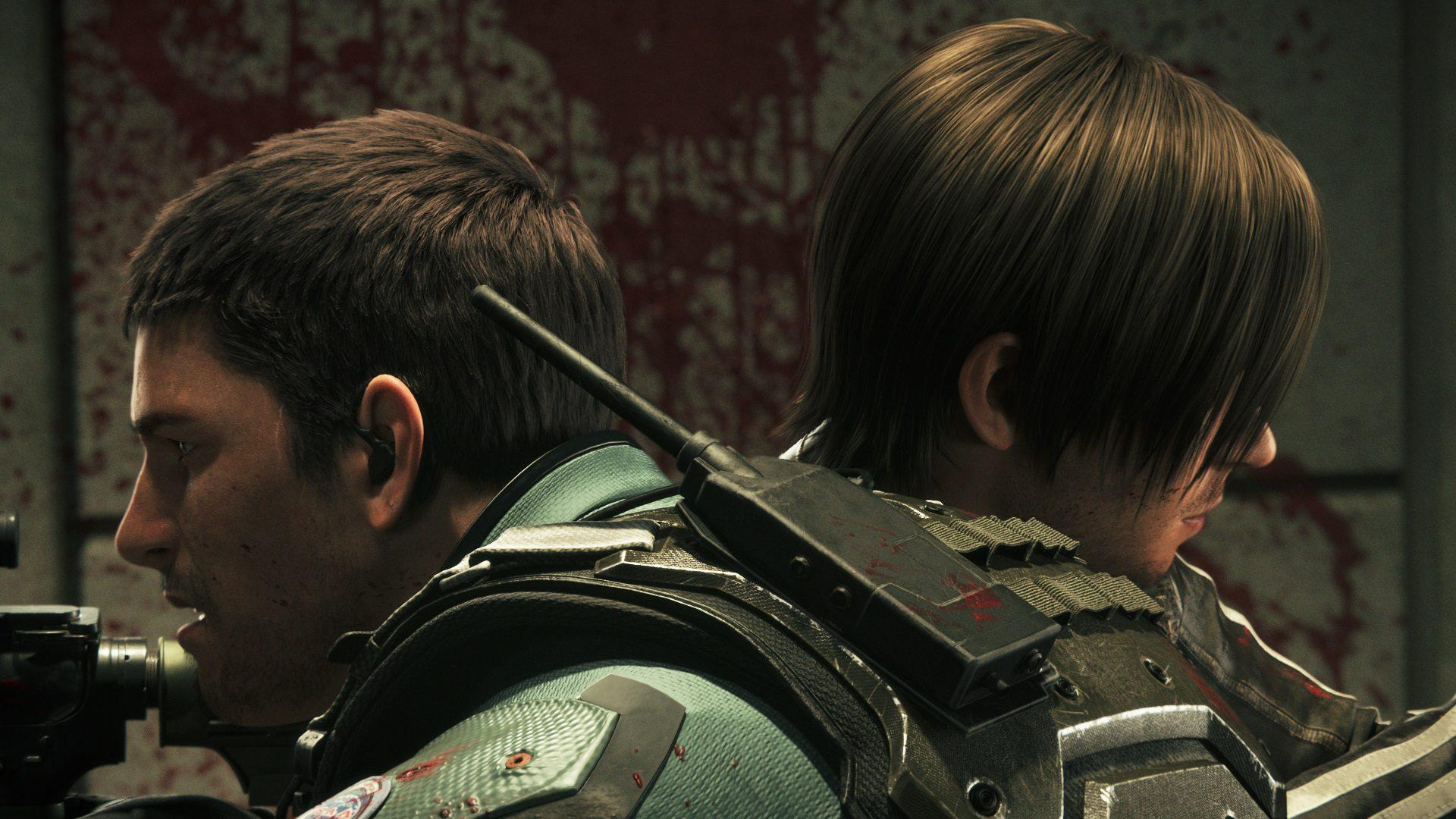 """Chris (Kevin Dorman) and Leon (Matthew Mercer) in """"Resident Evil: Vendetta"""". (Golden Village Pictures)"""
