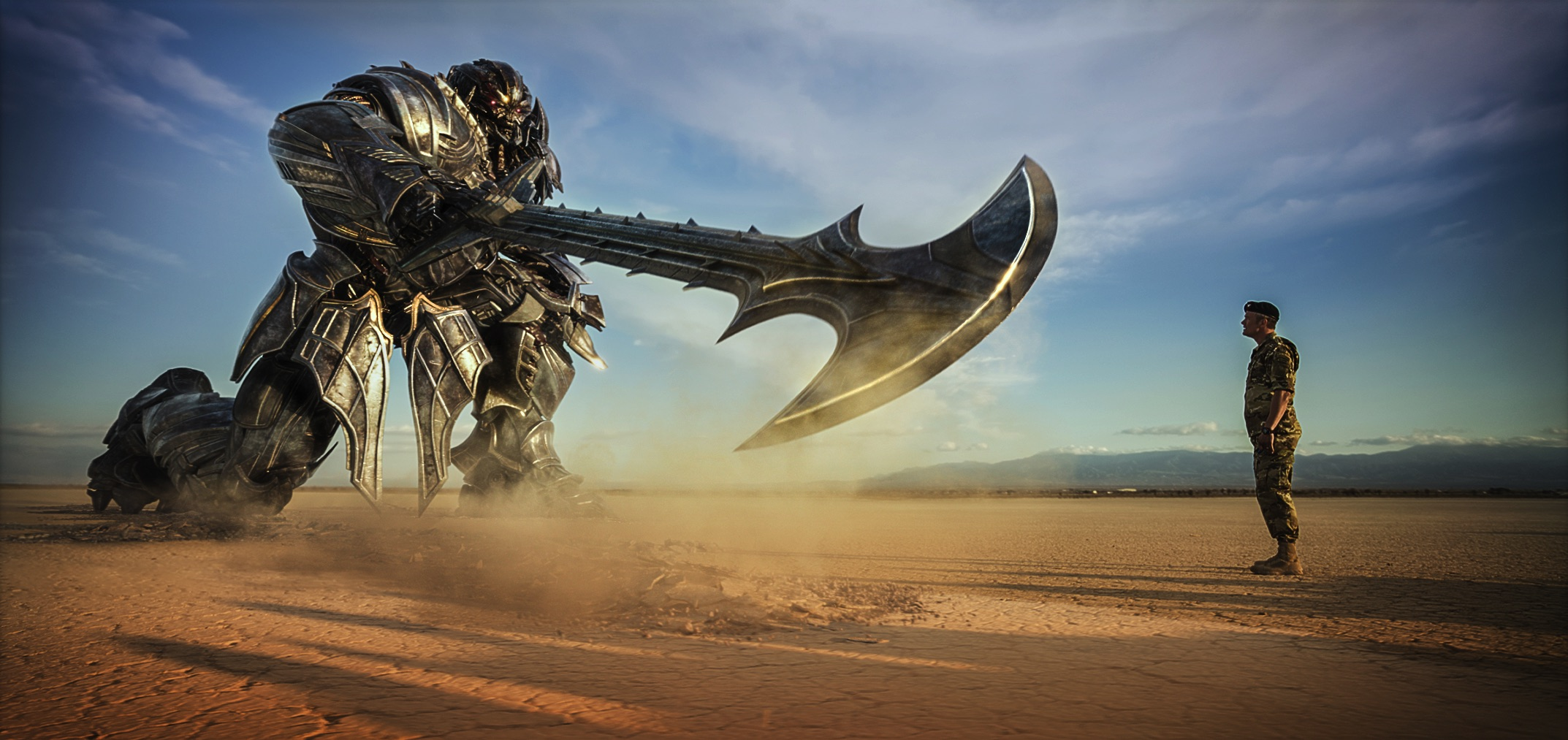 "Lennox (Josh Duhamel) stands up to Megatron in ""Transformers: The Last Knight"". (United International Pictures)"