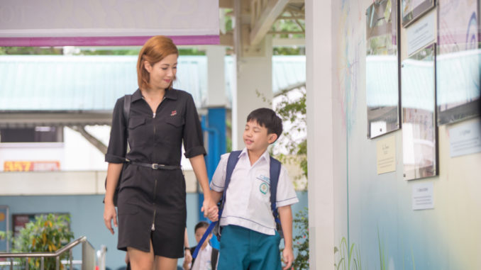 "Min Yi (Vanessa Vanderstraaten) and her only son Kai (Keller Teh) in ""Lion Mums"" Season 2. (Ochre Pictures)"
