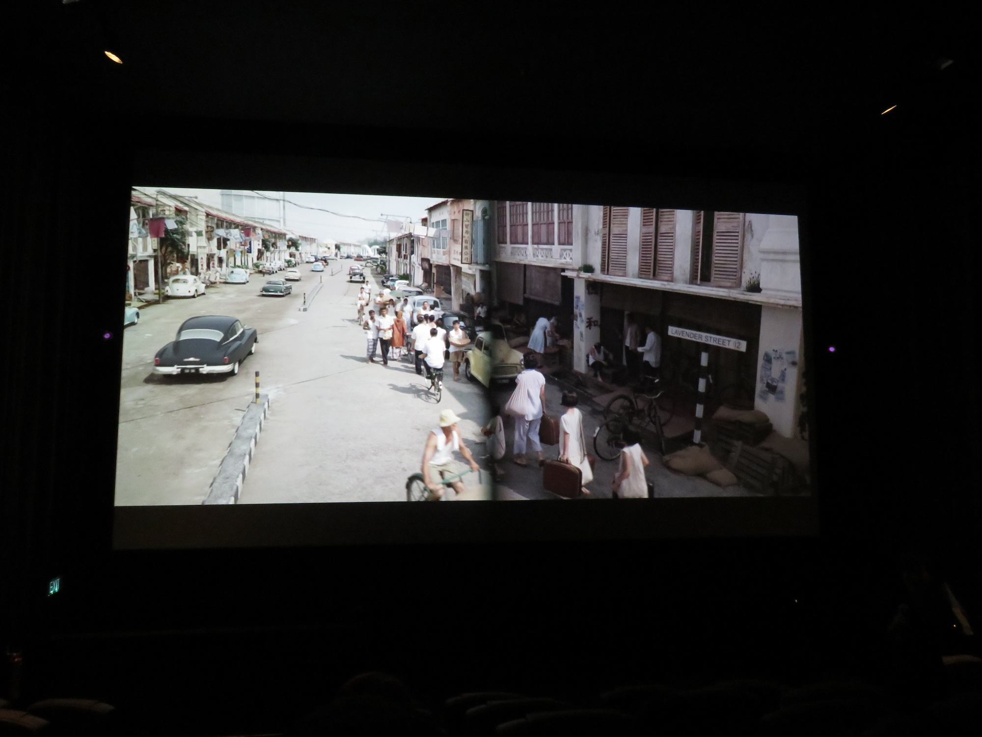"Screening ""Long Long Time Ago"" using laser projection (on the left) and conventional projection (on the right)."