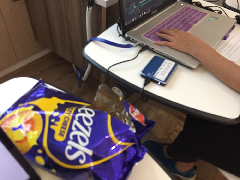 Bribed editor with snacks.