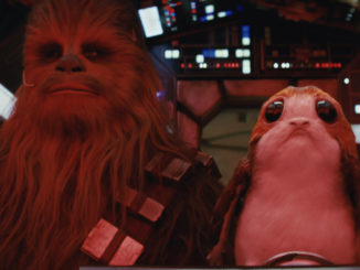 "Chewbacca (Joonas Suotamo) and a Porg in ""Star Wars: The Last Jedi"" (Walt Disney Pictures)"