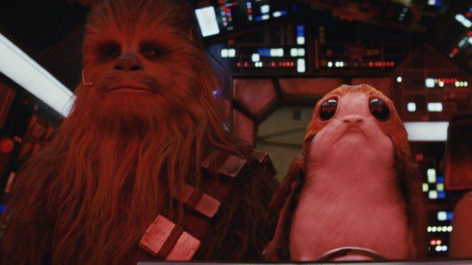 "Chewbacca (Joonas Suotamo) and a Porg in ""Star Wars: The Last Jedi"" (Walt Disney Pictures)"