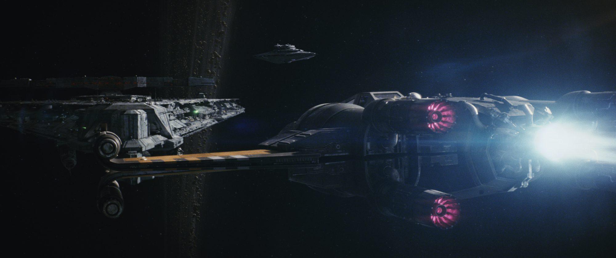 "Poe's X-Wing flies towards the Dreadnaught ship Finn (John Boyega) battling Captain Phasma (Gwendoline Christie) in ""Star Wars: The Last Jedi"" (Walt Disney Pictures)"