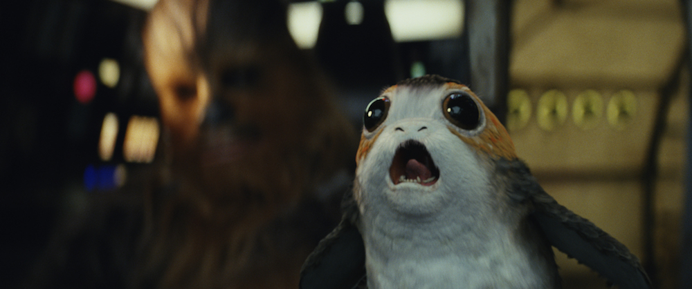 "Chewbacca with a Porg in ""Star Wars: The Last Jedi"" (Walt Disney Pictures)"