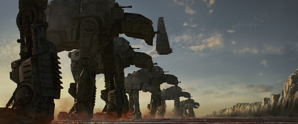 "AT-M6 Walkers, along with Kylo's Shuttle in ""Star Wars: The Last Jedi"" (Walt Disney Pictures)"