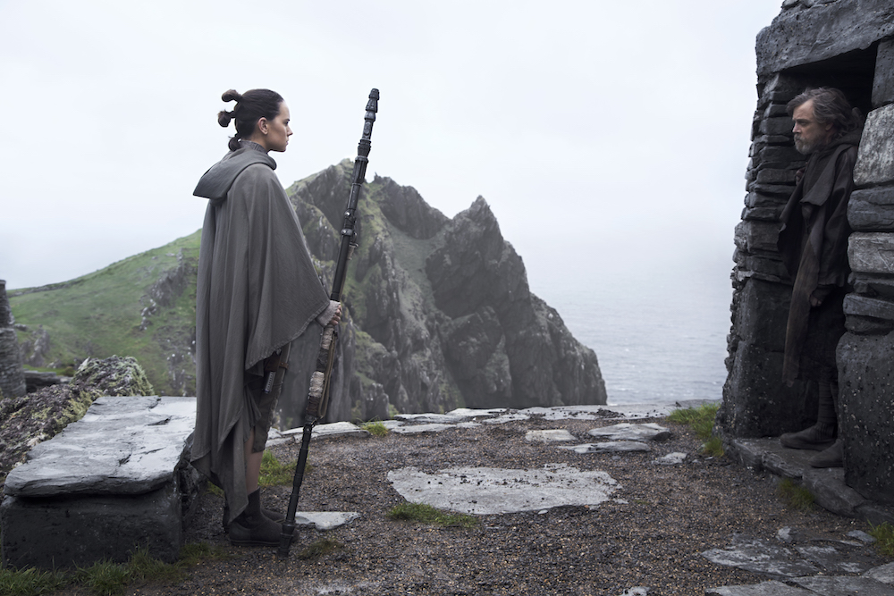 "Rey (Daisy Ridley) and Luke Skywalker (Mark Hamill) in ""Star Wars: The Last Jedi"" (Walt Disney Pictures)"
