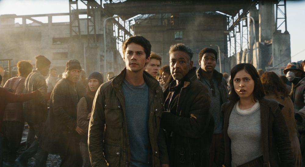 "L-r, Dylan O'Brien, Thomas Brodie-Sangster, Giancarlo Esposito, Dexter Darden and Rosa Salazar in Twentieth Century Fox's ""Maze Runner: The Death Cure."""