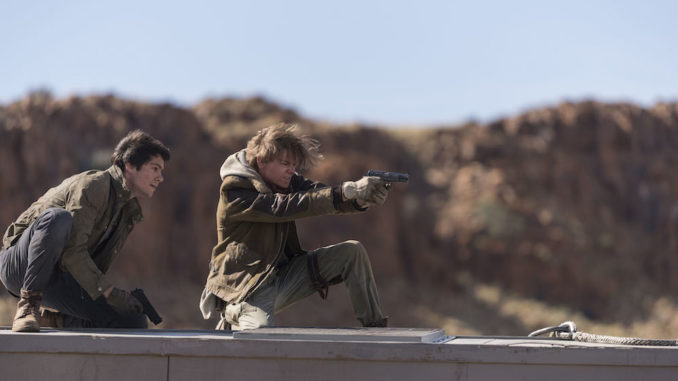 """Dylan O'Brien, left, and Thomas Brodie-Sangster in Twentieth Century Fox's """"Maze Runner: The Death Cure."""""""